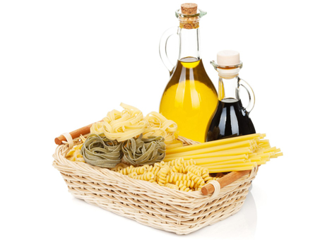 Vinegar and oil, pasta, rice